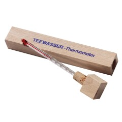 Te termometer i eske av tre